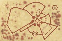 Alte Karte einer Festung Stockfotos