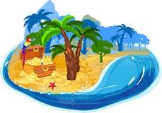 Alte Karte, Papierboot, ein Dolch und Goldmünzen Lizenzfreies Stockbild