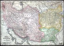 Alte Karte vom Iran, von Afganistan und von Pakistan lizenzfreies stockbild