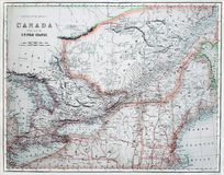 Alte Karte von Amerika u. von Kanada. Lizenzfreies Stockbild