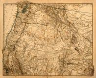 Alte Karte von Amerikas pazifischem Nordwesten. Stockfoto