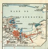 Alte Karte von 1890, das Jahr mit dem Plan der französischen Hafenstadt von Cherbourg-Octeville normandie Lizenzfreie Stockfotografie