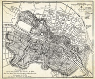 Alte Karte von Paris Stockbild