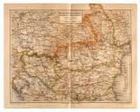 Alte Karte von Rumänien, von Bulgarien, von Serbien und von Montenegro Stockfoto