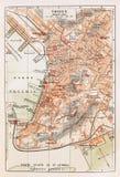 Alte Karte von Triest stockbilder