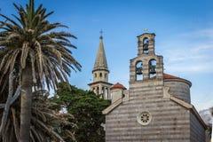 Alte katholische und orthodoxe Kirchen in Budva Lizenzfreie Stockbilder