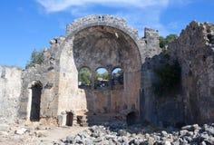 Alte Kirche auf Gemiler-Insel in der Türkei Stockbild