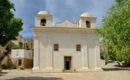 Alte Kirche im korsischen Dorf Pigna Lizenzfreies Stockbild