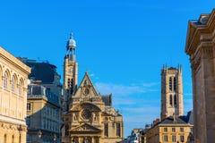 Alte Kirchen im Quartier-Latein in Paris Stockfotos