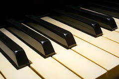 Alte Klaviertastaturperspektive Stockfotos