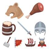 Alte Krieger der Wikinger auf dem Schiff Ausstattung und Symbole der Wikinger Wikinger-Ikone in der Satzsammlung auf Karikatur Stockbilder