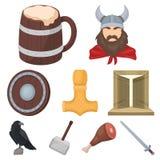 Alte Krieger der Wikinger auf dem Schiff Ausstattung und Symbole der Wikinger Wikinger-Ikone in der Satzsammlung auf Karikatur Lizenzfreie Stockfotografie