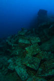 Alte Kugelkästen innerhalb des Wracknamens ist SS Thistlegorm lizenzfreies stockbild