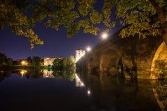 Alte lahntal Brücke Limburg ein der lahn Deutschland nachts Stockfoto