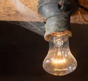 Alte Lampe, die auf einer hölzernen Decke brennt Lizenzfreie Stockbilder