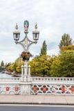 Alte Lampen-Lichter auf der Brücke über dem Fluss Ouse in York Stockbild
