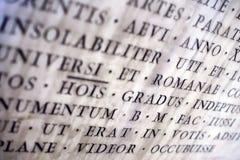 Alte lateinische Beschreibung Stockfoto