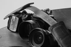 Alte lederne Kamera-Tasche Stockfotos
