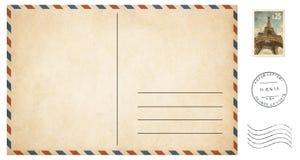 Alte leere Postkarte lokalisiert auf Weiß mit Beitrag Lizenzfreie Stockfotografie