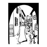 Alte Leute auf den Straßen eines Schlosses Stockfoto