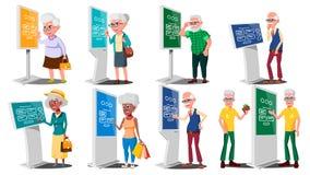 Alte Leute, die ATM, Digital-Terminalvektor verwenden Mann, Frau set Lcd-digitale Beschilderung für die Innenanwendung interaktiv vektor abbildung