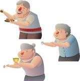Alte Leute geben Almosen Stockfotos