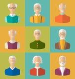 Alte Leute Ikonen von Gesichtern von alten Männern Großvater-Charaktere Stockfotografie