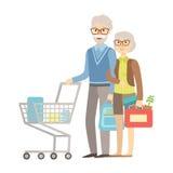Alte Leute-Paar-Einkaufen für Lebensmittelgeschäfte im Supermarkt, Illustration von der glücklichen liebevollen Familien-Reihe Stockfotos