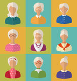 Alte Leute von Gesichtern von Frauen von Grau-köpfigem Lizenzfreies Stockfoto