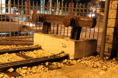 Alte Linie Jaffa-Jerusalem des historischen Bahnabstellgleises Stockfotos