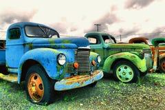 Alte LKWs und landwirtschaftliche Maschinen Lizenzfreies Stockfoto