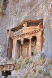 Alte Lycian-Gräber verringert im Felsen Fethiye, die Türkei Stockbilder