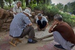 Alte Männer, die Schach spielen Lizenzfreie Stockfotografie