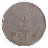 Alte Münze der indischen Rupie zwei Stockbild