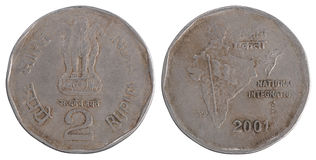 Alte Münze der indischen Rupie zwei Lizenzfreie Stockfotos
