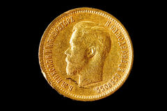 Alte Münze des reinen Goldes Stockfoto