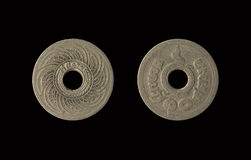 Alte Münze Thailand, die veralteter heutiger Tag ist, lokalisierte auf schwarzem Hintergrund mit Beschneidungspfad, 10 Satang Stockfotos