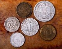 Alte Münzen von Europa stockbilder