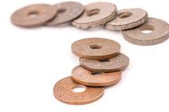 Alte alte Münzen von Thailand lokalisierten Stockbild