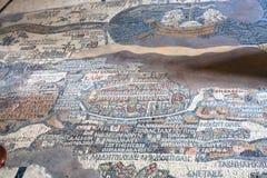 Alte Madaba-Mosaik-Karte auf Boden der Kirche Lizenzfreie Stockfotos