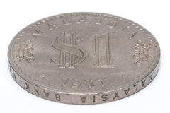 Alte malaysische Münze auf einem weißen Hintergrund Stockfoto