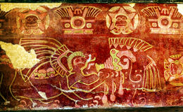 Alte Malerei trinkende Tequila-Wandwand Teotihuacan Mexiko City Stockfotografie