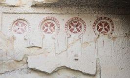 Alte Malereien in einer Höhlen-Kirche, Cappadocia, die Türkei Lizenzfreie Stockfotos