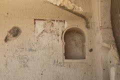 Alte Malereien in einer Höhlen-Kirche, Cappadocia, die Türkei Lizenzfreies Stockfoto