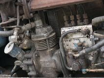 Alte Maschine des Traktorhintergrundes und -tapete Retro- Art Lizenzfreies Stockfoto
