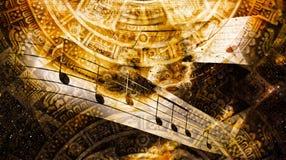Alte Mayakalender- und Musikanmerkung, kosmischer Raum mit Sternen, abstrakter Farbehintergrund, Computercollage Stockfotografie