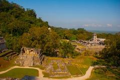Alte Mayastadt, archäologischer Komplex mit Ruinen, Palast, Tempel, Pyramiden Palenque Chiapas Mexiko Lizenzfreie Stockfotos