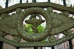 Alte medizinische Symbolschlangenweinlese versieht Eingangskrankenhaus mit einem Gatter Lizenzfreie Stockfotografie