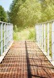 Alte Metallbrücke unter hohem Gras am warmen sonnigen Sommertag, vertikal stockfotografie