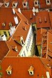 Alte mit Ziegeln gedeckte Dächer Stockbilder
